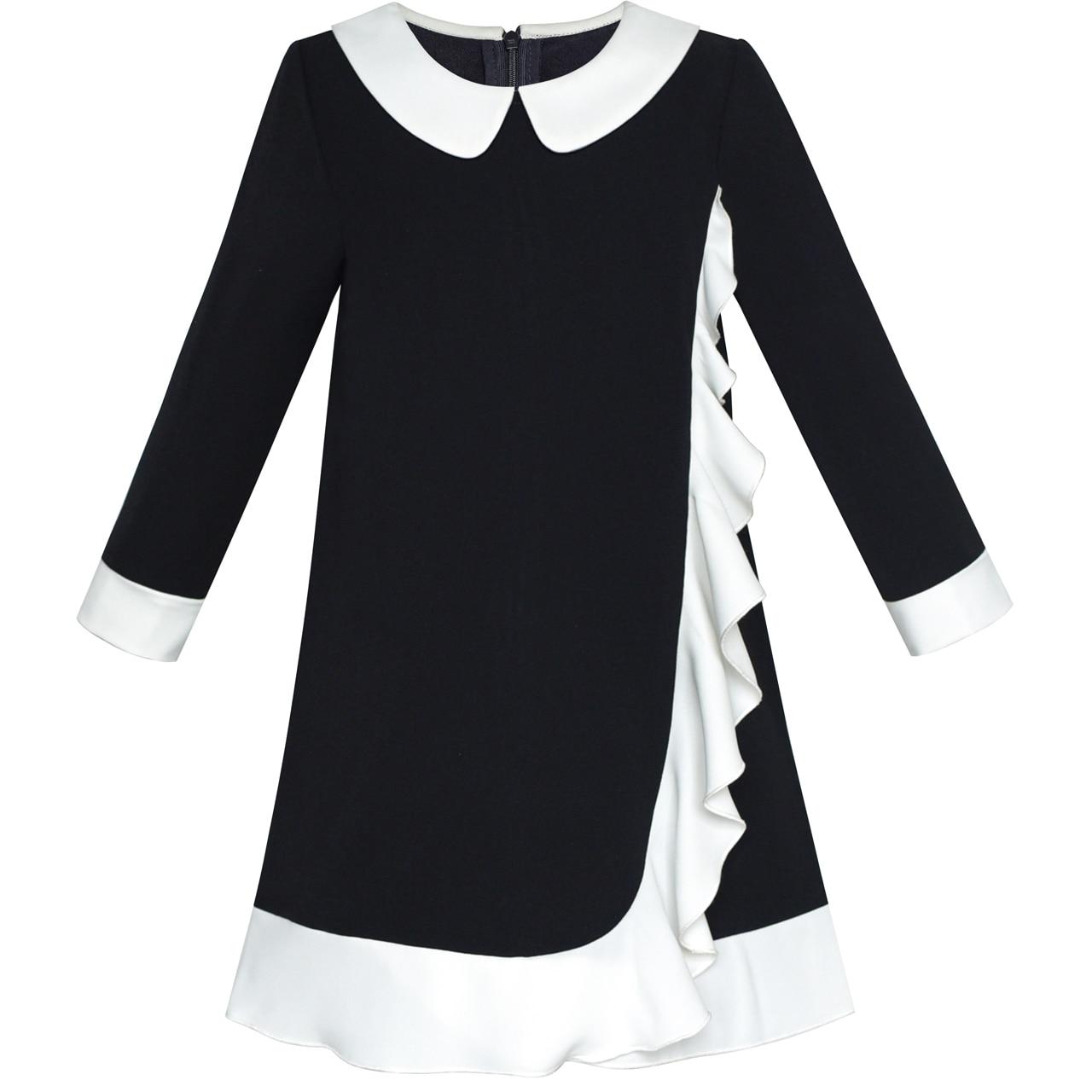 Sunny Fashion Vestidos niña Armada Negro Manga larga Uniforme escolar 2020 El verano Princesa Boda Partido Vestidos Ropa de niños Pompa Sundress