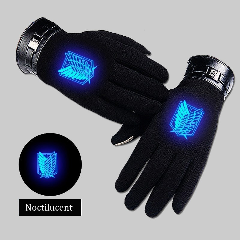 Anime Attack On Titans Cosplay Glove Autumn Winter Keep Warm Noctilucent Black Full Finger Gloves Accessories Handwear Costume