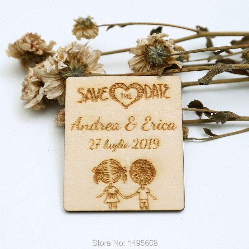 Dibujos Animados GUARDAR LA FECHA imán, grabado personalizado de madera guardar la fecha, regalos de boda para los invitados, favores de la boda rústica, invitaciones