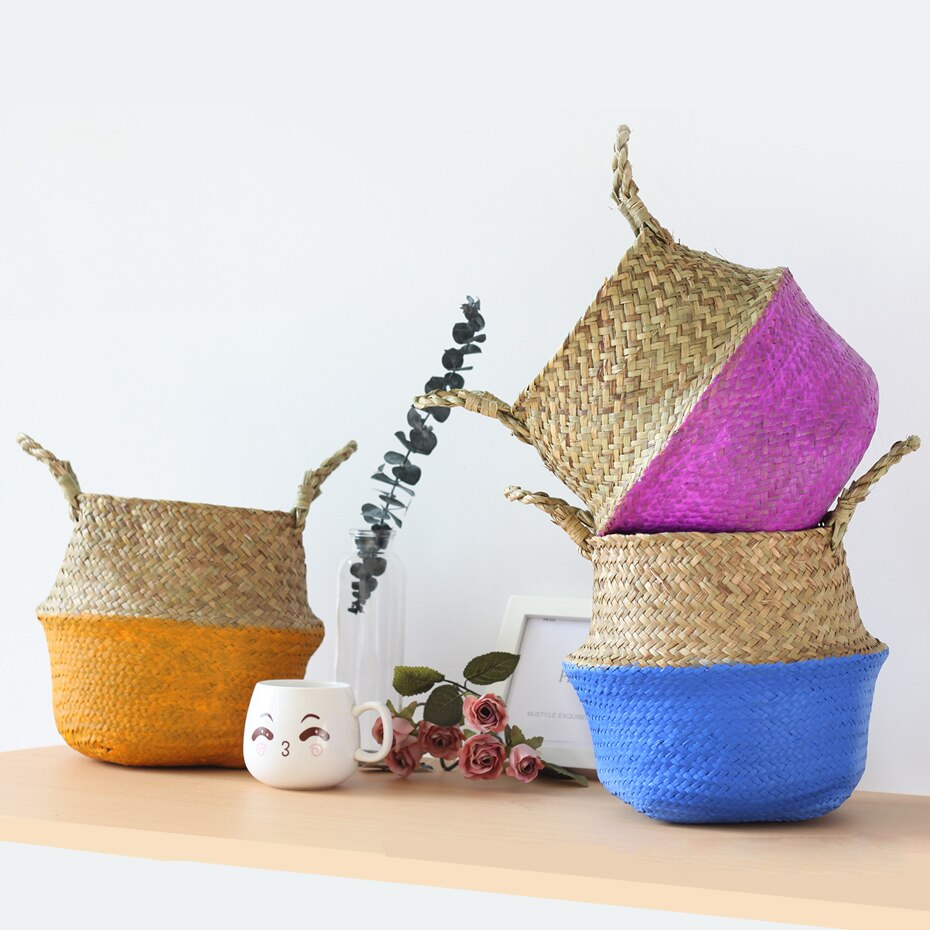 Large Seagrass Basket, Natural Panier Boule Storage Tote