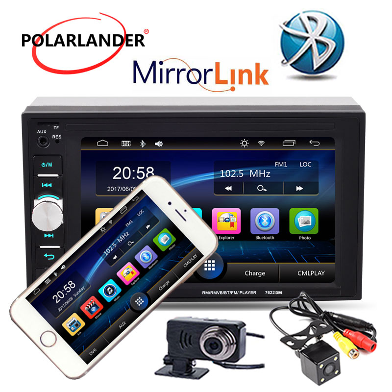 "6,2 ""2 Din Car Radio Automagnitol estéreo MP5/cámara/DVR Bluetooth enlace espejo para Android pantalla táctil del teléfono Oto Teypleri"