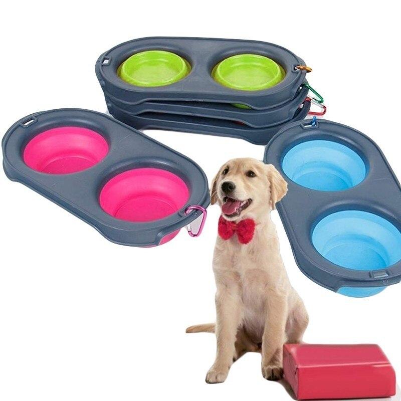 Benepaw Silicone Double Collapsible Dog Bowl Travel Portable Nontoxic Pets Dog Water Food Bowl Doggy Folding Feeding Drinking