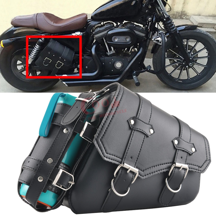 Motorcycle Right Saddle Bag Waterproof Side Bag Bike Side Storage Fork Tool Pouch For Harley Sportster Choppers Softails 2004-Up