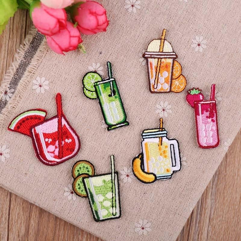 Pgy frutas bebidas alimentos limonada remendos bordado ferro em remendos para roupas diy alimentos listras roupas adesivos apliques