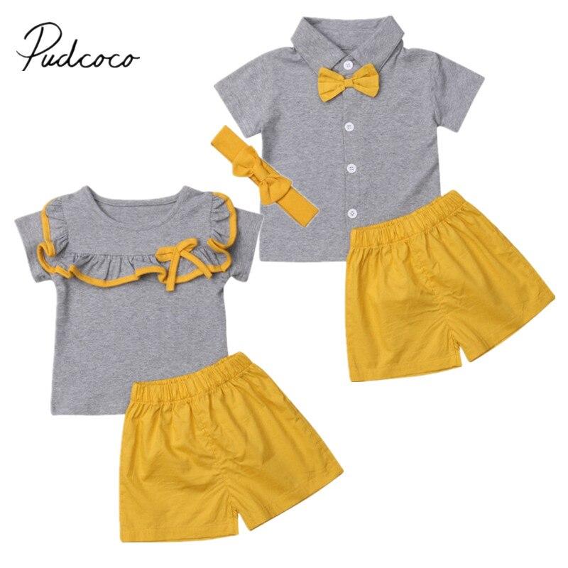 2019 Brand New Toddler Kids Baby Girl Boy Sister Brother Sets Ruffles/Bowknot Short Sleeve Tops Shirt+Yellow Shorts 2Pcs Clothes