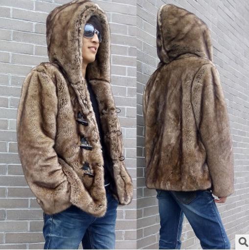 Chaquetas de piel informales con capucha y botones de cuerno para hombre, chaquetas de piel sintética de visón, abrigos de piel para invierno a la moda, chaqueta de piel hecha para hombre S/5Xl