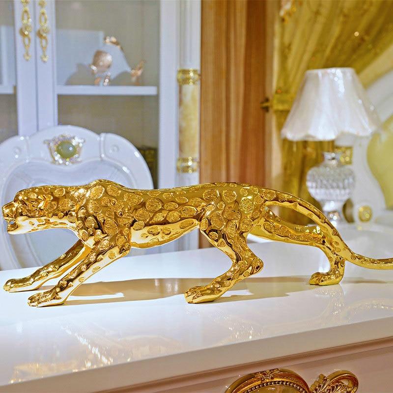 Abstrato moderno ouro pantera escultura geométrica resina leopardo estátua vida selvagem decoração presente artesanato ornamento acessórios de mobiliário