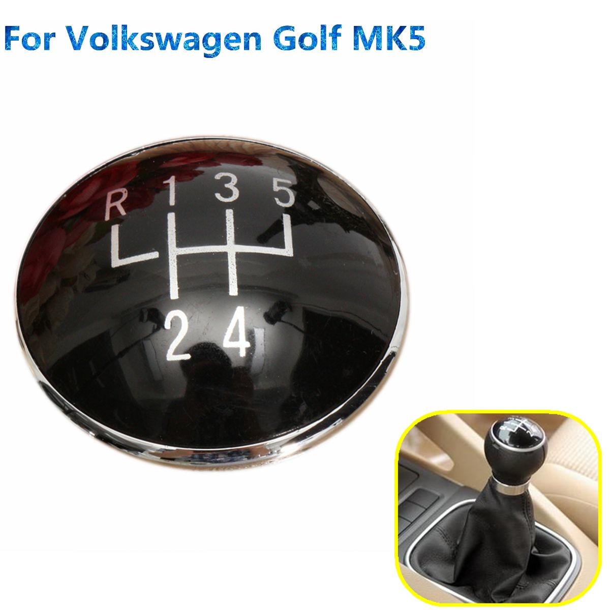 Perilla de engranaje negra de 5 velocidades, emblema, gorro distintivo, apto para Volkswagen Golf V MK5 2003-2009