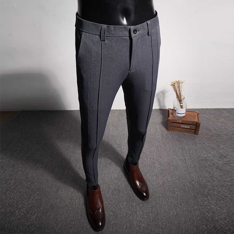 Brand New Slim Fit Boutique Business Mens Dress Pant Simple 2019 Casual Formal Wear Mens Trousers High Quality Suit Pants Men