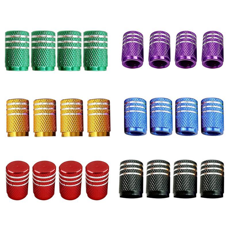 Tapas de válvula de aire para neumático de coche de aluminio Universal de 4 Uds., tapa de válvula de neumático de bicicleta, estilismo de ruedas de coche redondo rojo, negro, azul, plateado y dorado