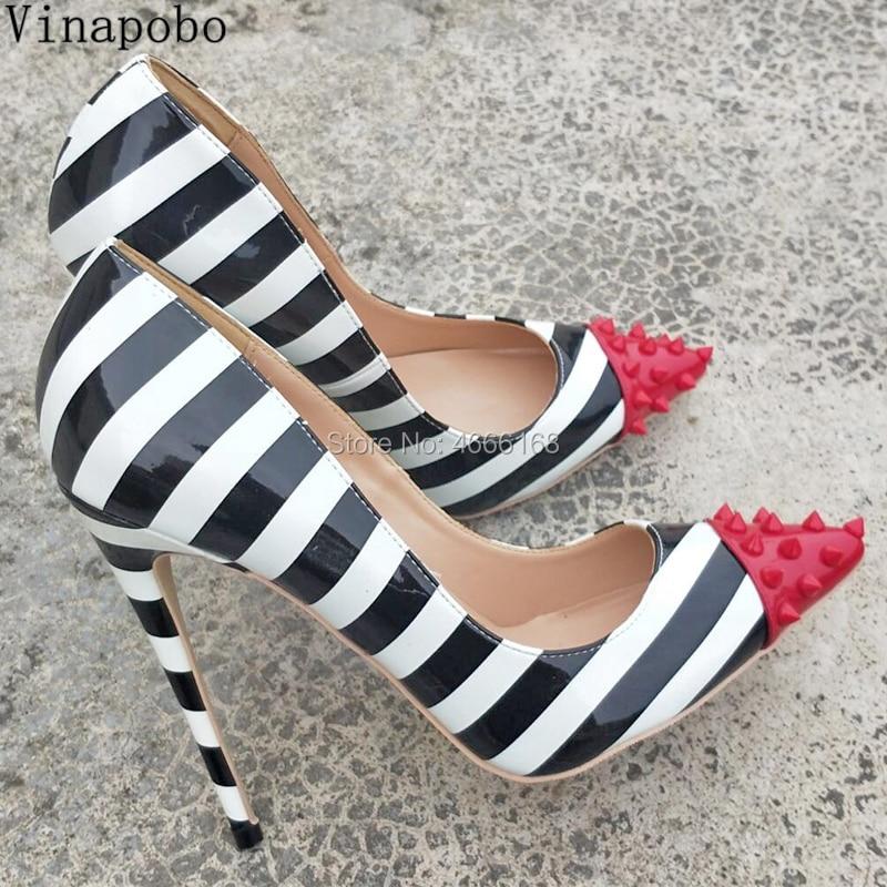 Zebra Stripes Print High Heels Schuhe Frau Rot Niet Spitz Patent Leder 8/10/12 CM Stiletto mit hohen absätzen Pumpen Mixed Farbe Schuh