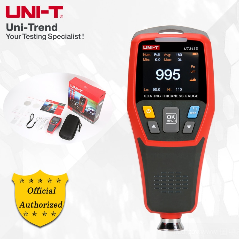 UNI-T UT343D Coating Thickness Gauge; iron matrix (FE), non-ferrous matrix  (NFE) measurement composite coating thickness gauge-Leather bag