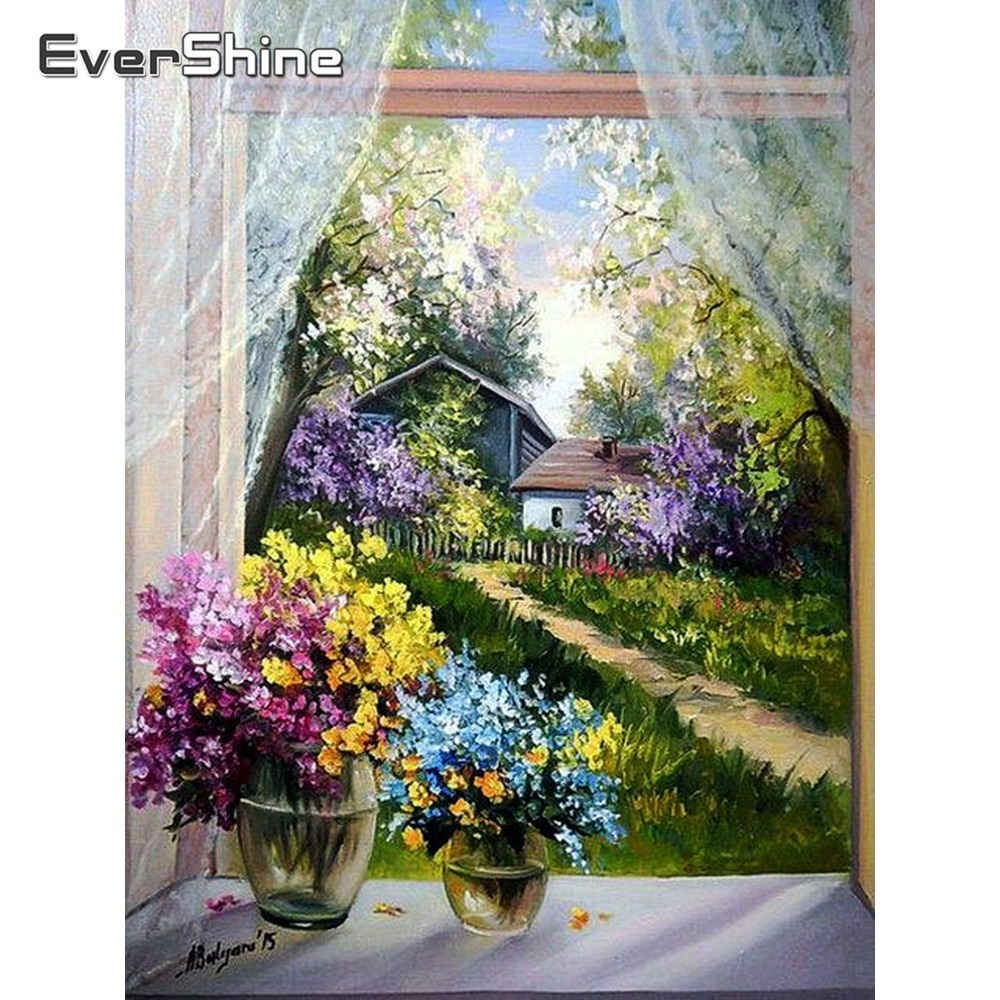Cuadro de flores de visualización completa con bordado de diamantes DIY de Evershine, cuadro de diamantes de imitación 5D, cuadro de diamantes, decoración de pared de ventana cuadrada completa