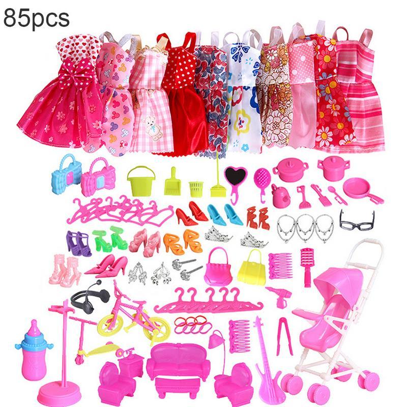 Conjunto de ropa para muñecas Barbie, 85 Uds., 10 paquetes de ropa...