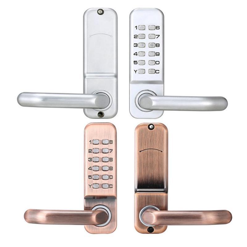Cerradura de puerta con botón Digital mecánico, teclado sin llave, 11 botones de contraseña, cerradura de código de combinación, cerradura de seguridad para el hogar