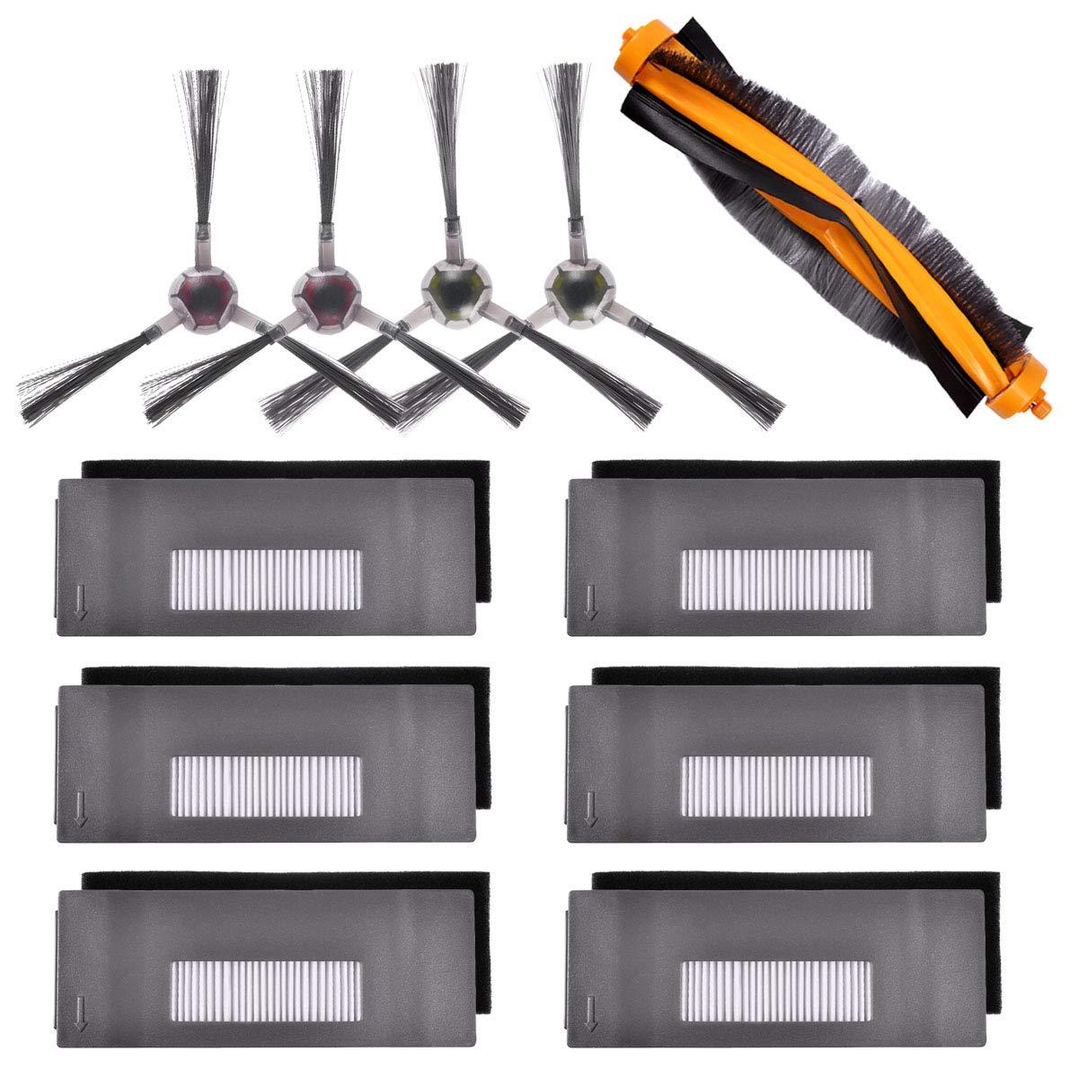 Kit de accesorios para piojos Compatible con ECOVACS DEEBOT 901 900, aspiradora robótica, 6 filtros + 2 cepillos + 1 cepillo principal