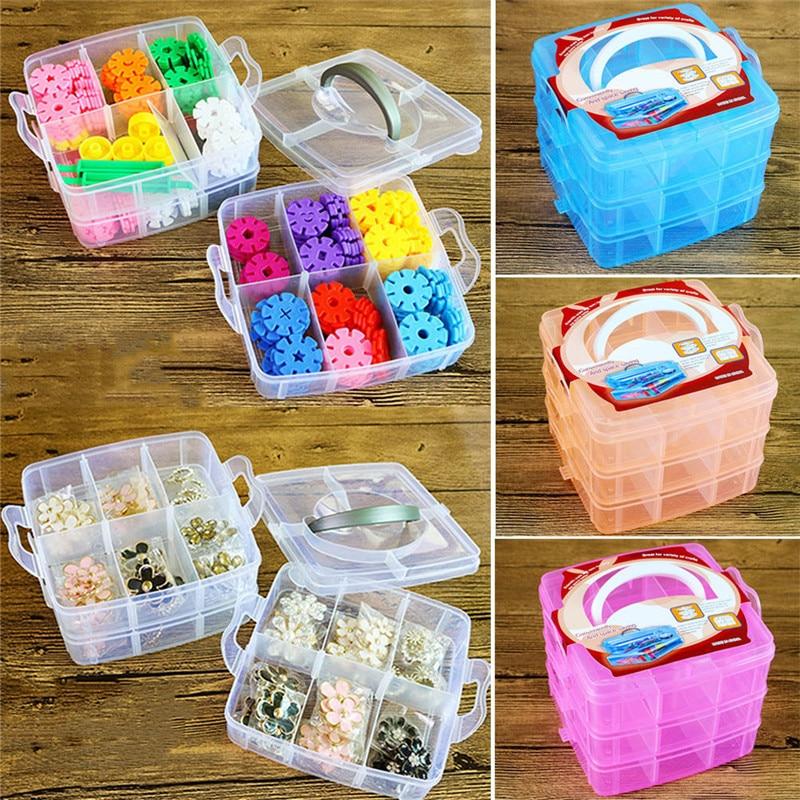 Plástico Transparente Jóias Bead Organizador Caixa de Armazenamento Box Container Caso Ferramenta de Artesanato