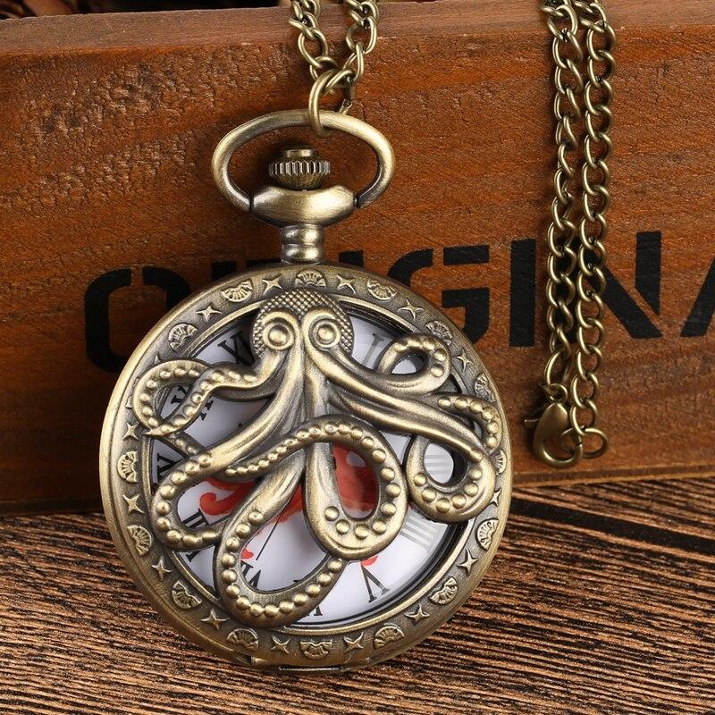 Reloj de bolsillo de cuarzo en forma de pulpo, colgante de bronce, regalo de recuerdo para hombres y mujeres, Relojes de bolsillo