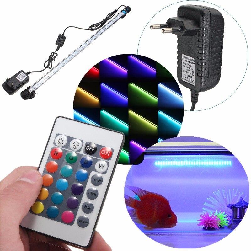 24 Keys Remote Control Aquarium Fish Tank Light 6.5W 57CM RGB Underwater Light 5050 SMD Led Bar Light Submersible AC100-240V