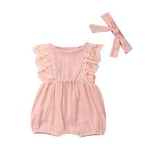 Body à volants en dentelle 0-24M   2 pièces pour nouveau-né fille, bandeau, vêtements, ensemble dété pour enfant en coton