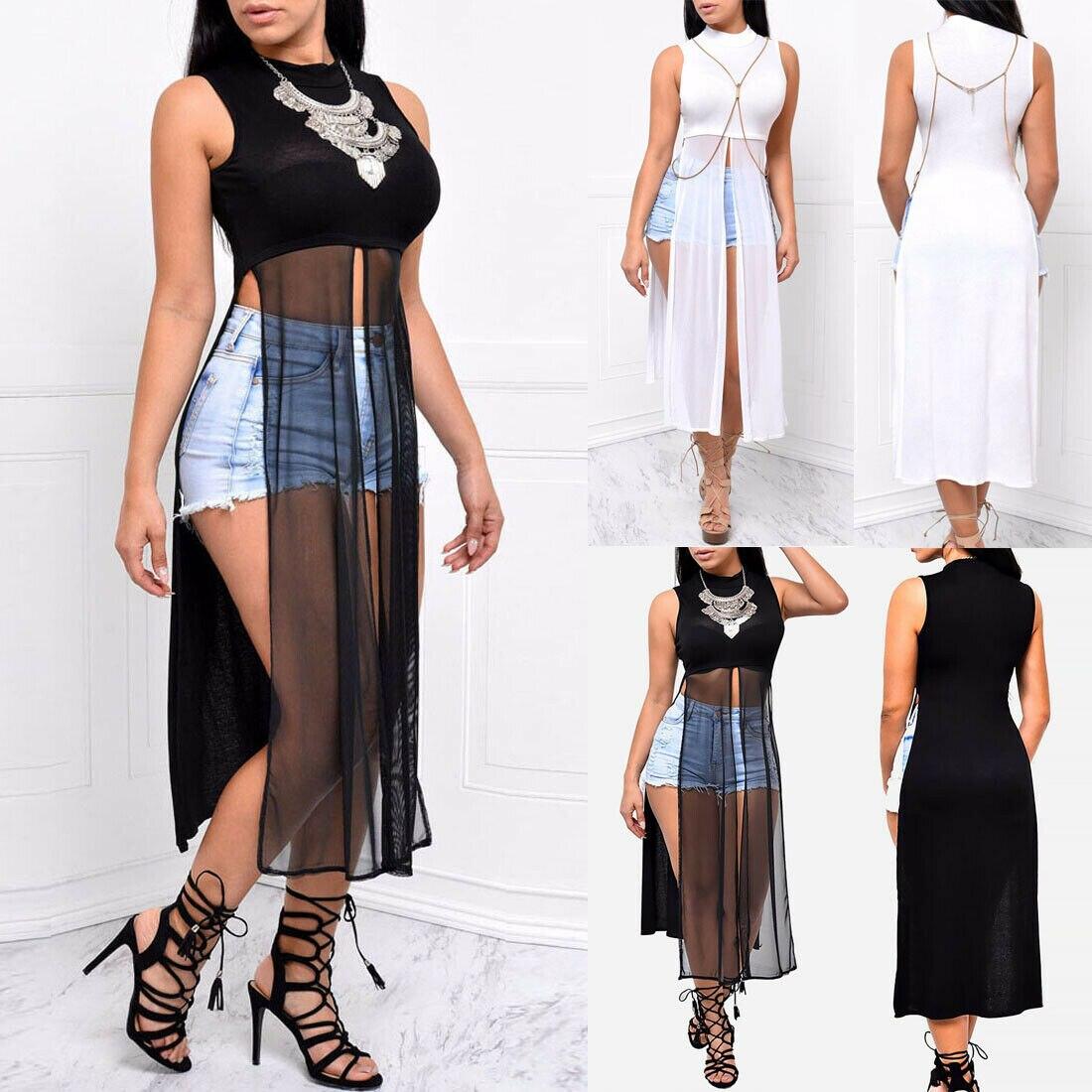 Sexy Women's Sleeveless High Neck Patchwork Side High Split Shirt Top Long Top Maxi Dress
