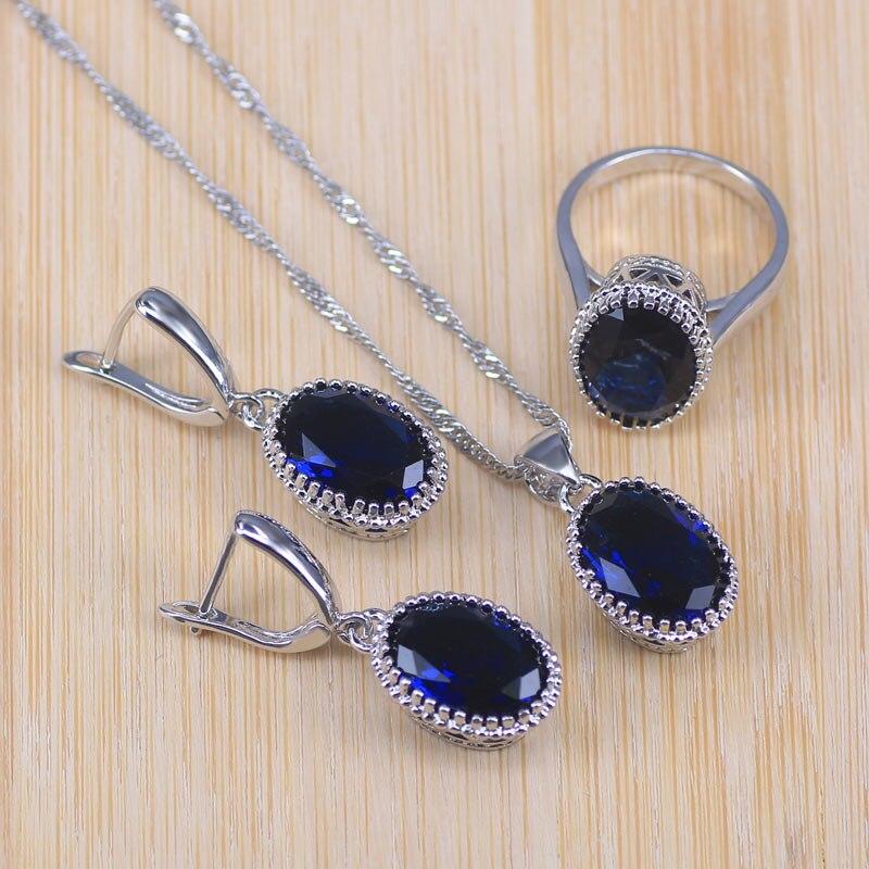 Голубой циркон Свадебный серебряный цвет костюм Ювелирные наборы для женщин кулон и ожерелье кольцо серьги с натуральными камнями ювелирные изделия Подарочная коробка