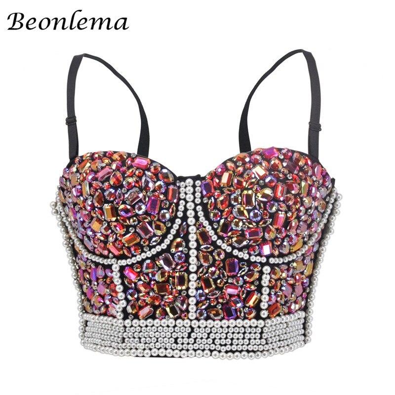 Beonlema Steampunk من مشد أعلى النساء مثير البرازيلي الأعلى مشدات Overbust Korse الوردي حجر الراين الحلو فاسق امرأة الملابس S-2XL