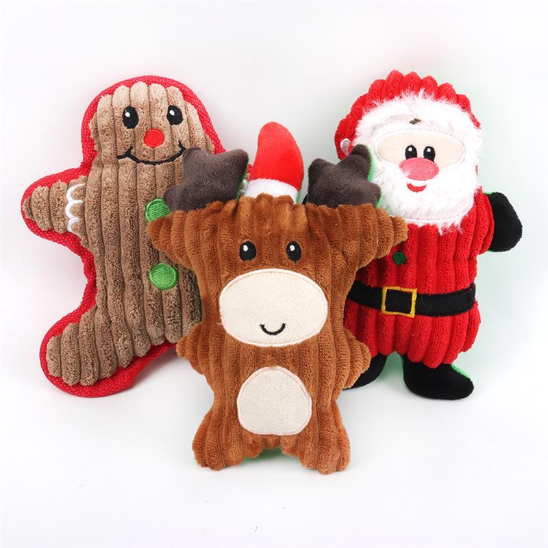 Navidad Santa Claus Juguetes para perros Chew Squeaker juguetes de peluche, mascotas para perros lindo morder cuerda Juguetes