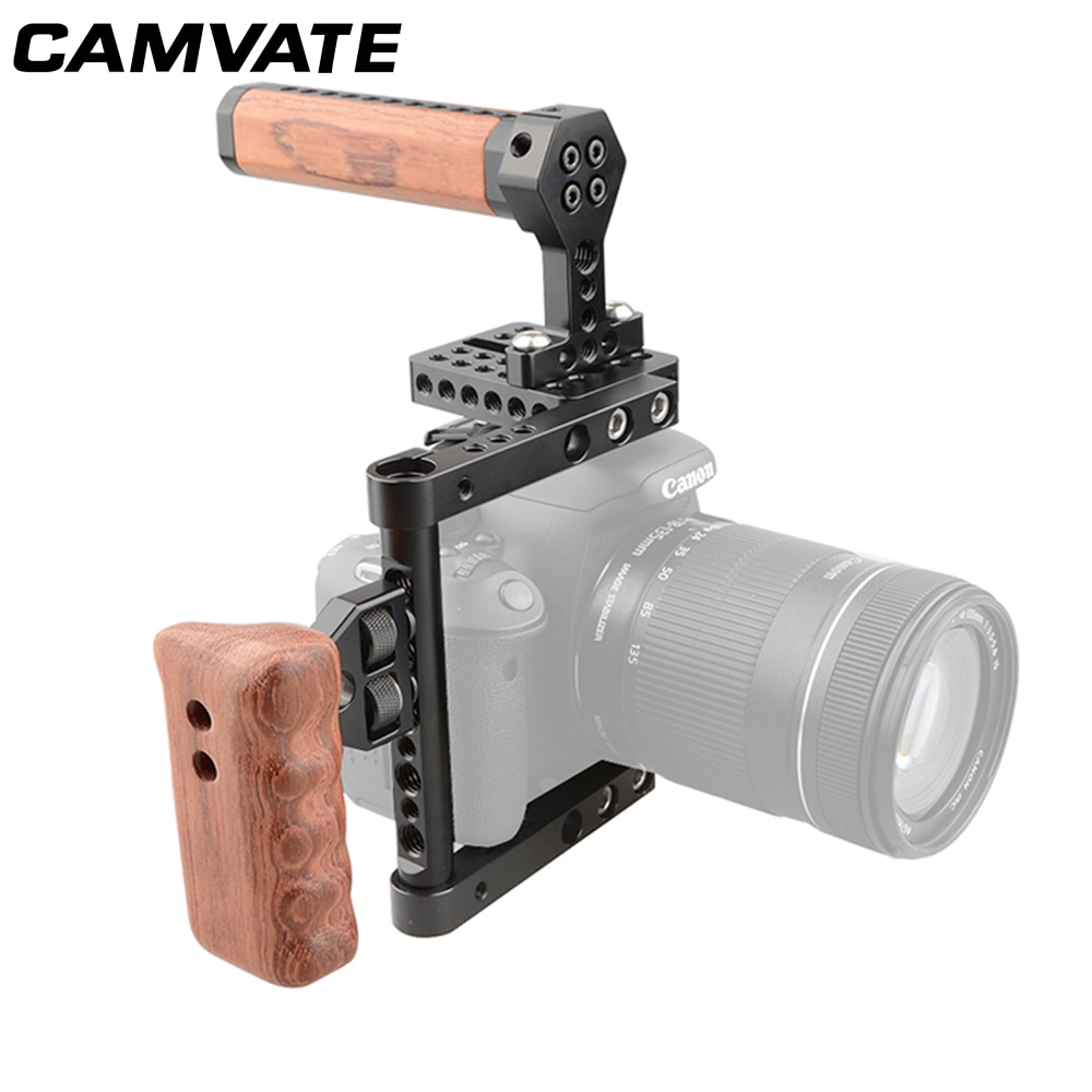 CAMVATE Camera Cage Rig For Canon 60D,70D,7D MarkII,5D MarkII,5D MarkIII/760D/D7000,D7100,D7200/GH5/GH4,GH3,GH2/A99,A58,A7,A7II enlarge