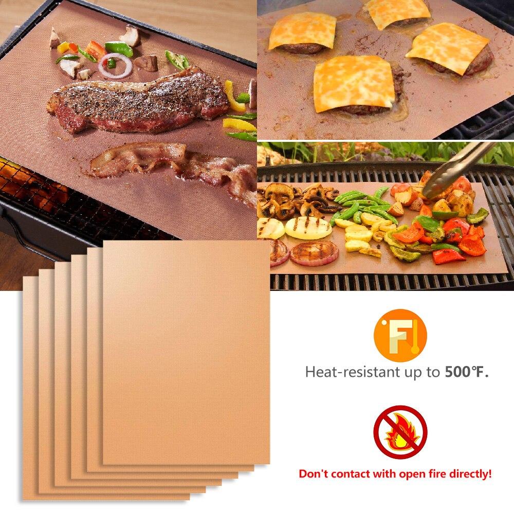 High Quality 6pcs Reusable Non-stick Bbq Home Pad Sheet Fda Eco-friendly Copper Grill Mat Outdoor Baking Mats Burn Oven Liners