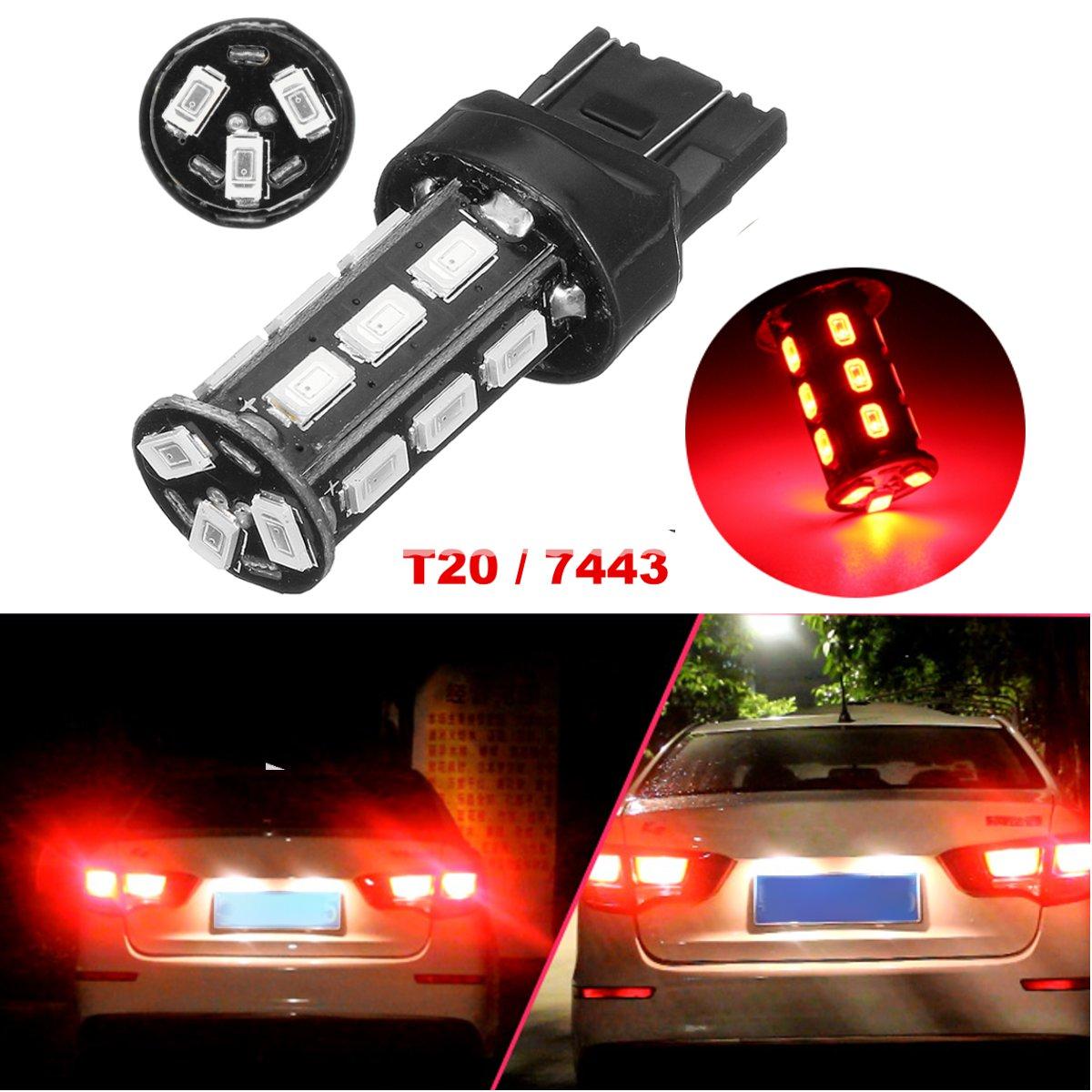 12V LED Dual Brake Stop Tail Light Bulb Red Lamp Extra Long Service Life Brake Light T20 7443 18 SMD 5630