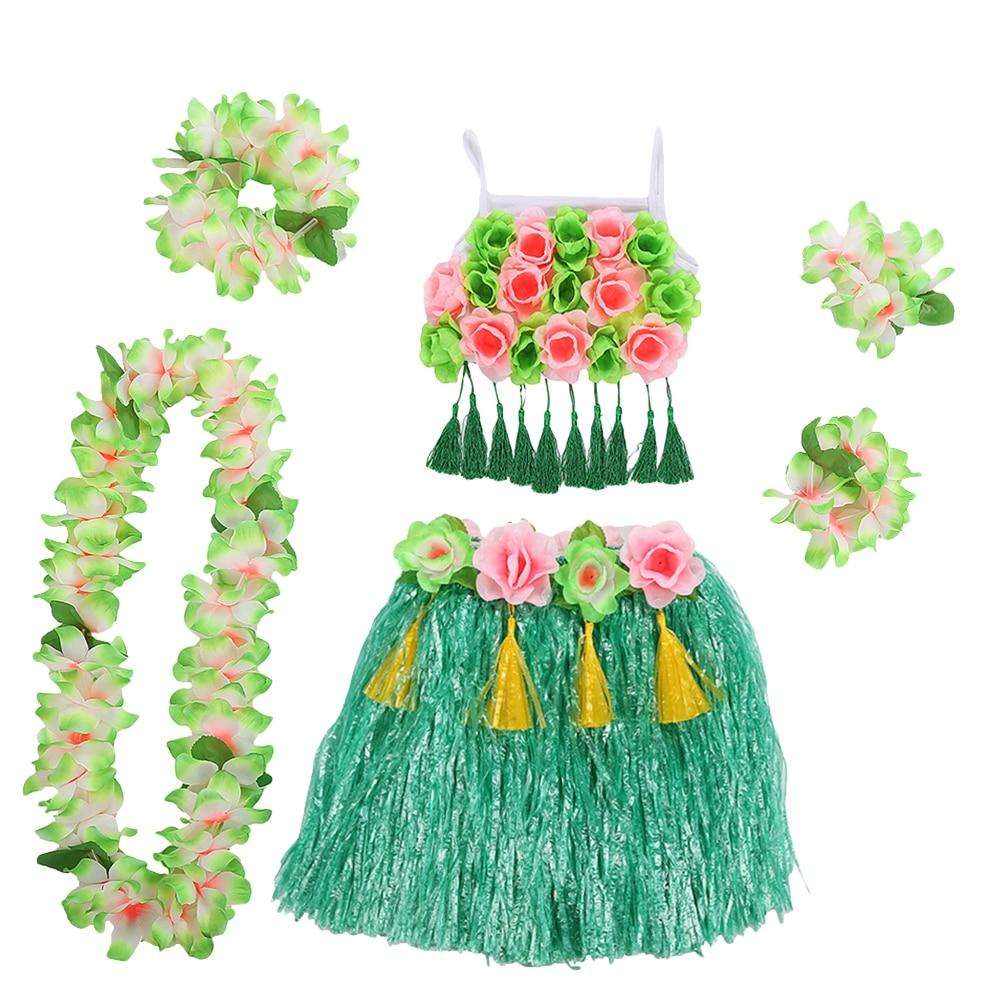 1 ud. Conjunto de falda de hierba hula hawaiana, pulseras de danza Tropical de 40 cm, diadema para Festival, espectáculo o fiesta
