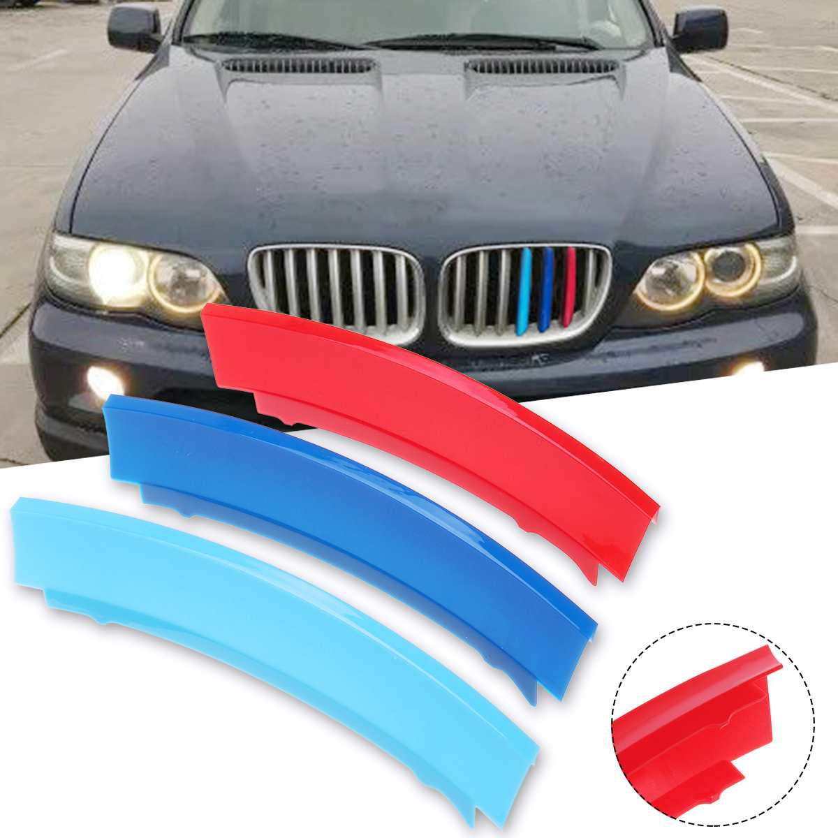 Adesivo 3d de 7 barras para frente do carro, parafuso para grade do carro, tiras esportivas, acessórios de estilo de carro para bmw x5 e53 2004-2007