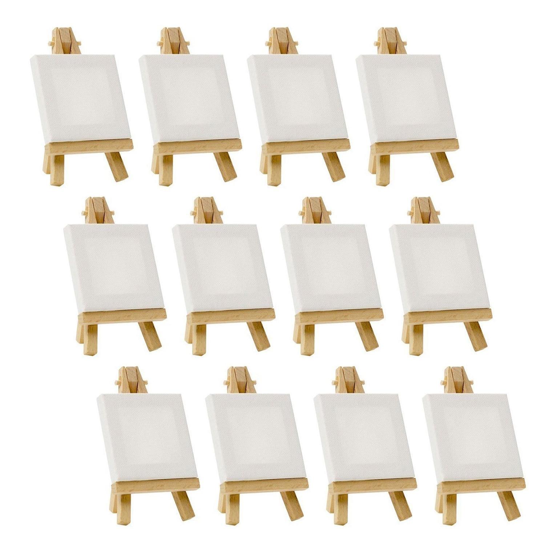 Художники 3-дюймовый x 3-дюймовый мини-холст и 5-дюймовый мини-мольберт Набор для рисования рукоделие Набор содержит: 12 мини-холстов и 12 мини-е