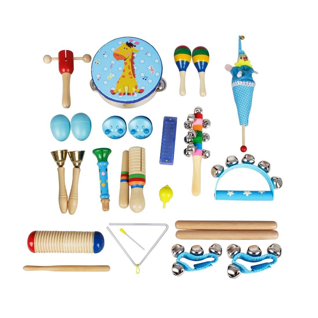 22pce/set de instrumentos musicales, conjunto de percusión de música para niños y niños, combinación de enseñanza jardín de infantes