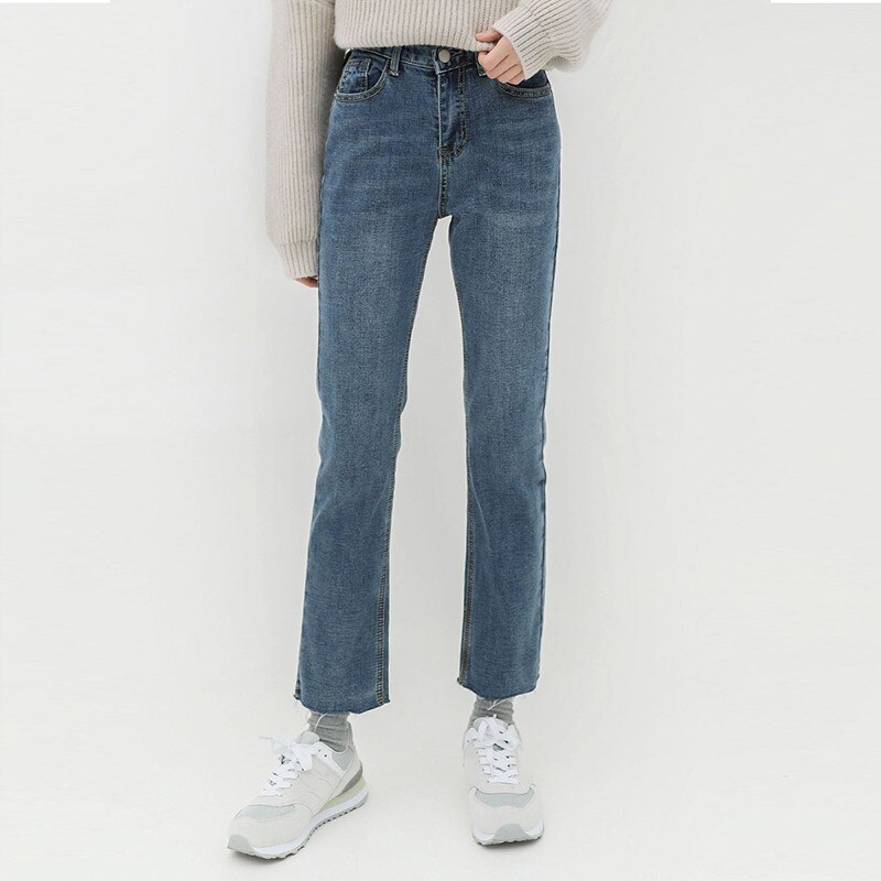 2019 winter Velvet Washed blue Denim Pants Women Jeans High Waist Straight Slim Casual Female Bottoms Fashion Street Wear PL11