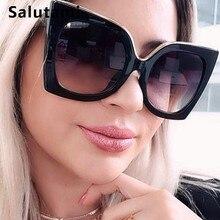 Overszie noir oeil de chat femmes lunettes de soleil Vintage rétro forme darc Sexy Chic lunettes de soleil femme grand cadre rouge blanc nuances Oculos
