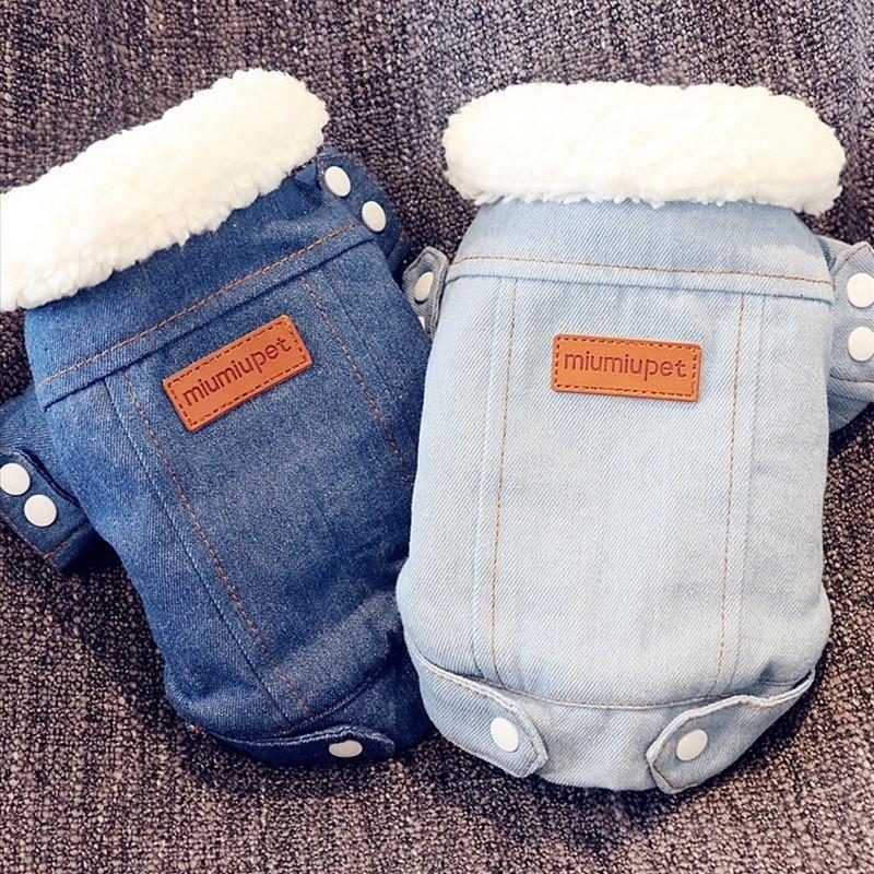 Роскошный зимний жакет для собак, одежда для щенков, костюм для животных, джинсовое пальто для собак, костюм чихуахуа, пуделя, домашний питомец породы Бишон, одежда 35S1