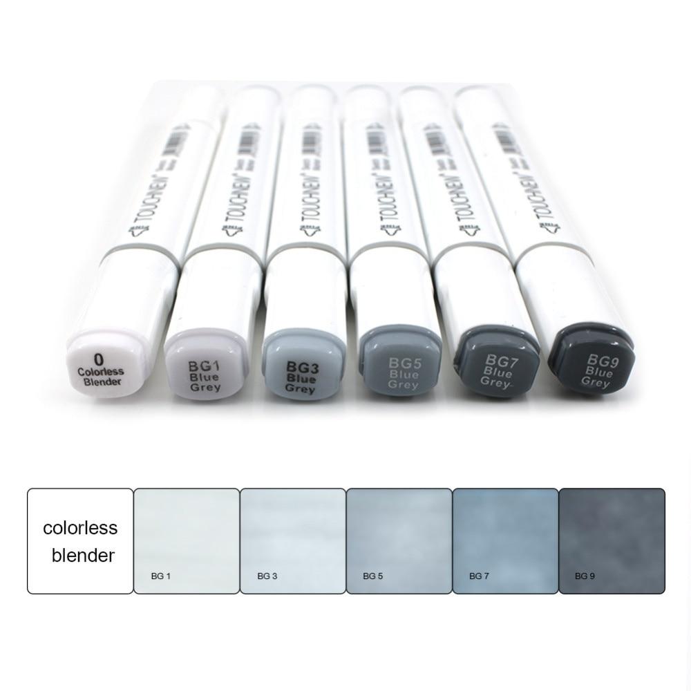6 uds. Marcadores artísticos de colores grises, marcadores de Sketch de doble punta, tonos de tinta a base de Alcohol, suministros artísticos