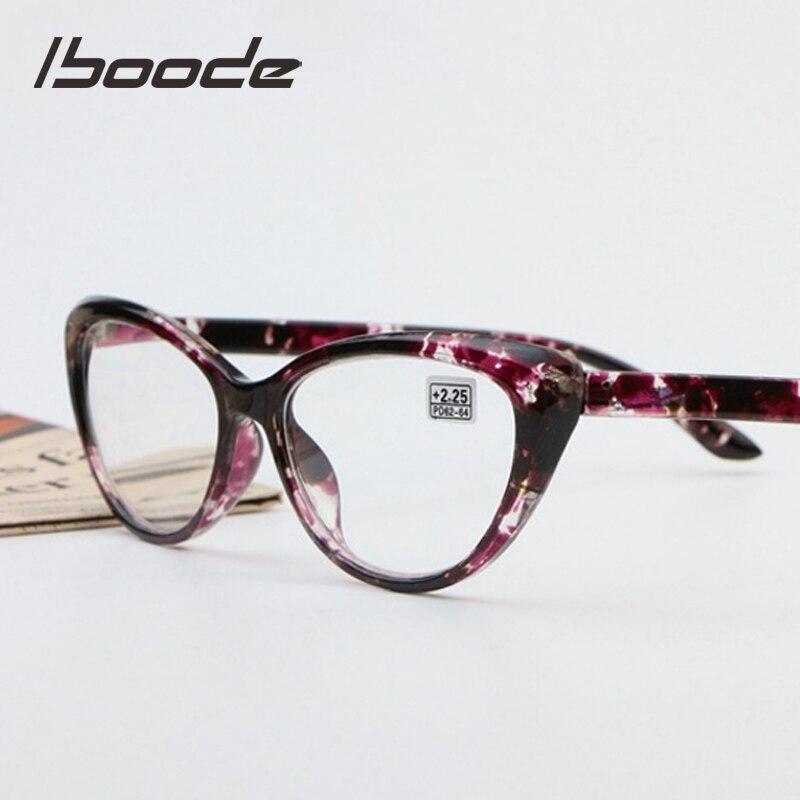 Iboode retro floral gato olho óculos de leitura mulheres homens ultraleve presbiopia + 1.25 1.5 1.75 2.0 2.25 2.5 2.75 3.0 3.5 4.0