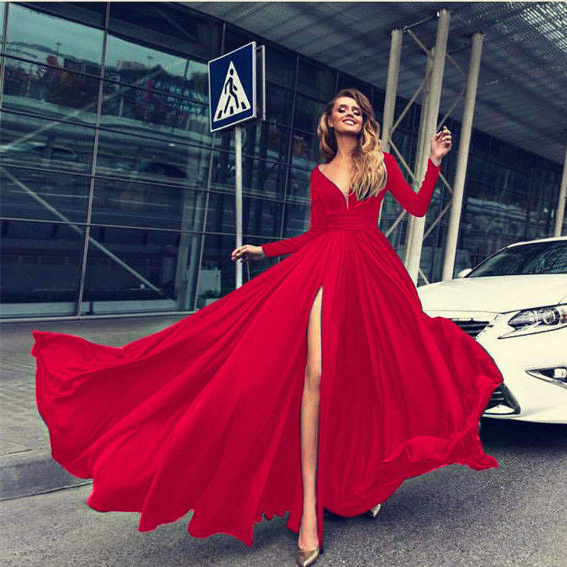 Women Autumn Long Sleeve Maxi Dress Elegant Split Formal Party Dress Fashion V neck Ladies Brand vestidos
