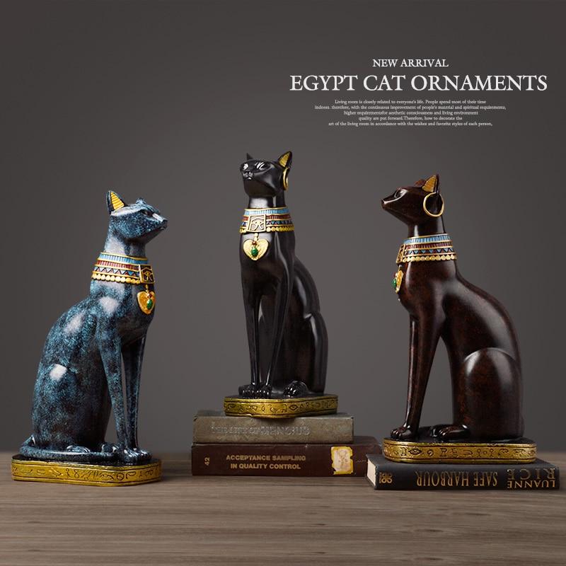 Gato egipcio artesanía de resina decoración del hogar Vintage Baster diosa dios faraón estatuilla estatua para adornos de mesa Regalo