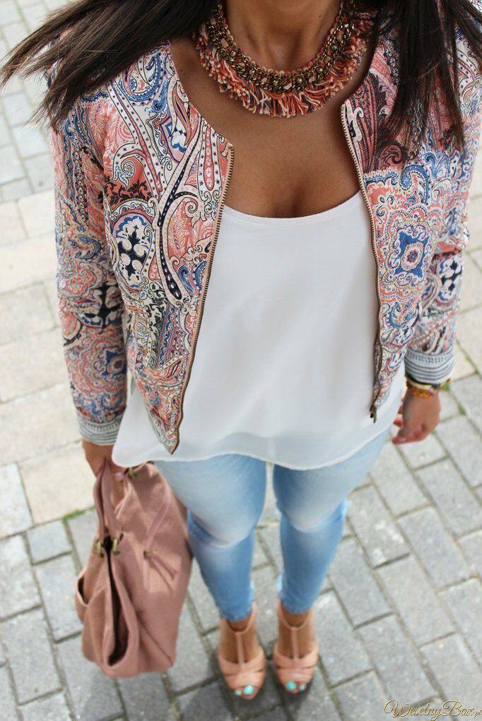 Women Casual Long Sleeve Zipper Slim Floral Jacket