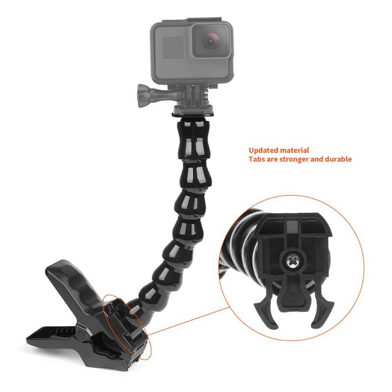 8 Sections Gooseneck Adjustment Jaws Flexible Clamp Mount Holder Clip for GoPro Hero 7 6 5 For Go Pro Action Camera Accessories