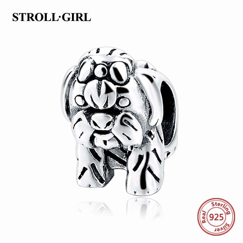 100% Auténtica Plata de Ley 925 Cute Dog Charm Beads Fit Pandora Original Pulsera Berloques Auténtico colgante DIY de La Joyería