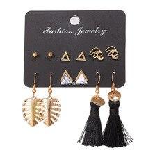 UOTOP 6 paires/ensemble à la mode feuille éléphant géométrique Triangle boucles doreilles ensemble Pack Long noir gland boucle doreille oreille mode bijoux