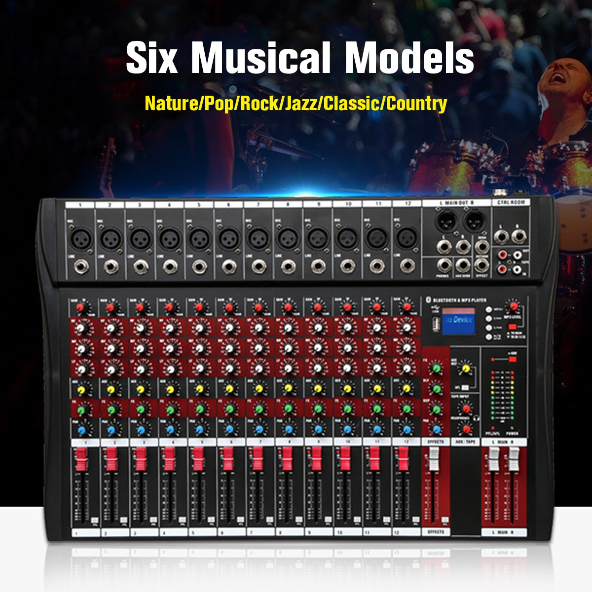 Mezclador de Audio 48V con USB profesional 12 canales bluetooth Studio DJ consola mezcladora Karaoke amplificador Digital KTV mezclador de sonido