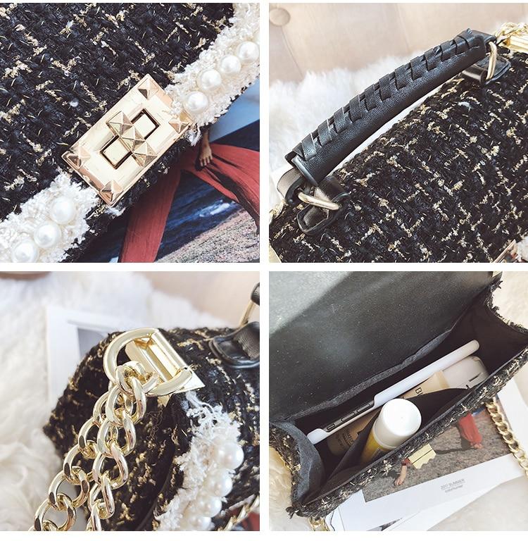 Small Fragrance Pearl Woolen Bag 2018 Fashion Women Handbags High Quality Woolen Female Bag Temperament Shoulder Bag Channels