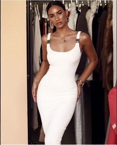 Top Quality White Sleeveless Dress Pants Tight Laced Club Is Held A Party