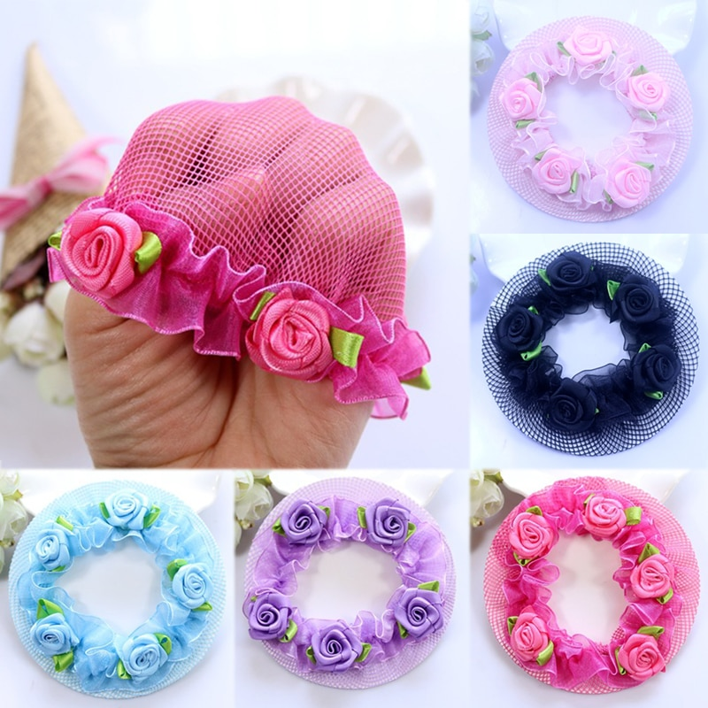 Милые цветочные сети для волос для девочек, 1 предмет, регулируемые детские 5 цветов, балетные костюмы для танцев, для осмотра, эластичная сетка для волос, Лидер продаж